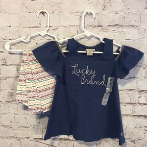 Lucky Brand Embroidered 2-Piece Shirt/Pant Set- 3T